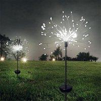 Lawn Lamps 2Pcs Solar Powered Outdoor Grass Globe Dandelion Fireworks Lamp Flash String 90  120 150 LED Garden Landscape Holiday Light