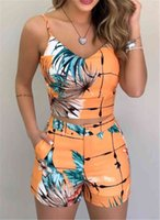 Women's Shorts Fashion Women Suits 2 Stuff Sets Summer Office Lady Flowers Strap Tank Crop Top High Tail Button outfits