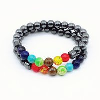 Natürliche schwarze Stein Perle Strangs Charme Frauen 7 Reiki Chakra Heilung Balance Armbänder Für Männer Schmuck