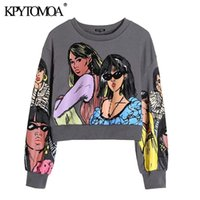 KPYTOMOA Women Fashion Charater Print Loose Cropped Sweatshirt Vintage O Neck Long Sleeve Female Pullovers Chic Tops 210813