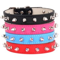Dog Leather Collars With Nail PU Adjustable Pet CatCollars Control Handle Training Cat Collar Supplies Products & Leashes