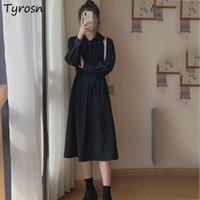 Casual Dresses Long Sleeve Dress Women Black Turn-down Collar Korean Fashion All-match Office Lady Elegant Knee-length Streetwear High Waist