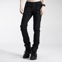 Venta al por mayor- Punk Rave Casual Hombre Pantalones Gótico Moda Negro Guapo Streampunk Motocicleta K154