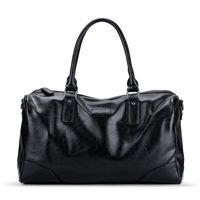 Duffel Bags Weysfor Male Leather Travel Bag Large Duffle Independent Shoes Storage Big Fitness Handbag Luggage Shoulder Black
