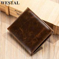 Wallets Westal Luxury Designer Rfid Engraving Men's Credit Card Holder for Men Money Bag