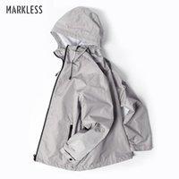 Men's Jackets Markless Sportswear Hooded Men Silver Gray Waterproof Jacket Coat Male Fashion Casual Jaqueta Masculina Chaquetas Hombre