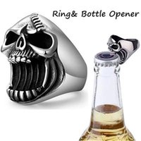 Punk Bottle Opener Band Rings Men Hip Hop Skull Cool Fashion Ring Gothic Jewelry Male Unisex Vintage Accessories