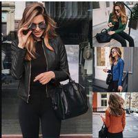 Womens Pu Leather Fshion Jackets Spring Autumn Woman Stand Collar Zipper Solid Short Coats Women Button Short Suit Faux coat