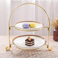 Dishes & Plates Cupcake Dessert Stand European Style 2 Tier Pastry Fruit Plate Serving Tray Holder Wedding Party Home Decoration