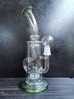 Bong 9.5 Inch tall oil burner dab rig glass oil rigs recycler smoking water pipe clear green joint size 14.4mm glass recycler oil rig diegodd selling