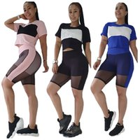 Summer outfits Women jogging suits Plus size S-2XL tracksuits short sleeve T shirts+shorts mesh pants two piece set sportswear casual sweatsuits 4856