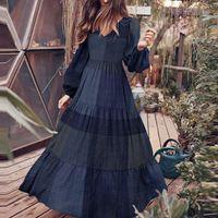 Ruffle Dresses Women Maxi Sundress 2021 Elegant Puff Sleeve Vestidos Female Party Dress Casual Plaid Robe Plus Size 5XL