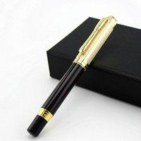 Mat Siyah Metal Dolma Kalem Deri Kalem Çantası Orta Nib / Bent Nib Altın Klip İş Ofis Kalemleri için Mükemmel Yazma Hediye