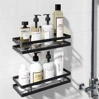 Bathroom Shelf Space Aluminum Black Storage Holder Bath Shower 20-50cm Kitchen Wall Toilet Shampoo No Drill 210906