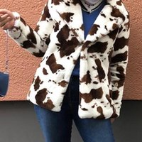 Na moda jaqueta fuzzy mulheres pelúcia casaco de pele de pelúcia leopardo vaca impressão solta vaso sobretudo outfits tweed terno quente grosso outwear mulheres chiques jac