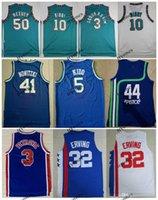 NCAA Vintage Tabanca 44 Pete Maravich Abdur 3 Rahim 10 Mike 10 Bibby 50 Reeves Julius 3 Erving 3 Drazen Petrovic Jason Kidd Basketbol Forması