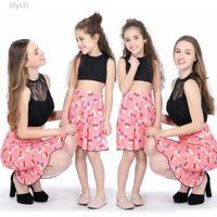 Family Mother Daughter Match Kids Girl Women Tutu Dress Clothes Outfit sleevelss lace crop Top Skirt boho print dresses