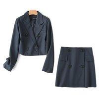 Осенняя одежда Blazer 2021 комплект юбка и урожая куртка костюм женщин две части короткие наборы для одежды Harajuku Fall Terno Outfits платье