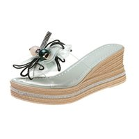 Wedge Shoes Slippers Casual Slipers Women Heeled Mules Slides Butterfly-Knot Platform Jelly Flip Flops Luxury 2021 High