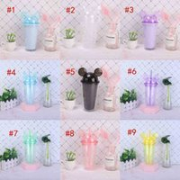 Mugs 9 Colors 15oz Acrylic With Dome Lid Straw Double Wall Clear Plastic Bottle Travel Tumbler Reusable Cup Sea DDA33 FKWT