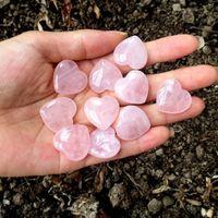 Natural Rose Shaped Pink Carved Palm Love Healing Gemstone Lover Gife Stone Crystal Heart Gems Quartz Crystals gift P6J0