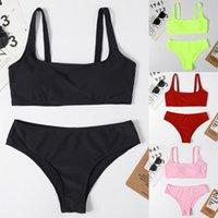 Women's Swimwear Swimming Suit Women Striped Push Up High Cut Hight Waist Halter Bikini Set Two Piece Swimsuit Tankini