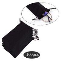 300pcs pano macio óculos de sol impermeável saco de microfibra de armazenamento de pó de pó de embalagem de jóias de embalagem de bolsa de cordão de veludo