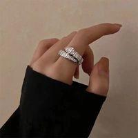 Designer ring B letter retro titanium steel full diamond snake-shaped men and women rings Adjustable size