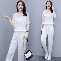 Women's Two Piece Pants 2021 Tracksuit Women Elegant -Pieces Suit Sets Female Stylish Short Sleeve Pullover Coat & Pant Jogging Femme S-3XL