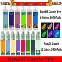100% Auténtico Randm Dazzle Pro Dimensión Dispositivo Desechable Kit Cigarettes Electrónicos 7ml PODS 2000 2600 Puffs 1100mAh Batería Vape Bar PenRepilled R and M