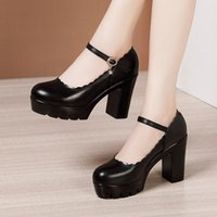 Dress Shoes Block Heel Small Big Size 32 33-43 High Heels Woman For Wedding 2021 Fall Spring Mary Janes Pumps Office Party Red White