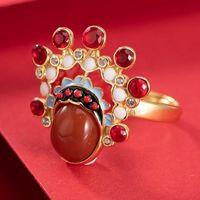 Original design chinesische traditionelle kultur peking oper südrot turmalin open ring charm charmante frauen marke schmuck cluster ringe