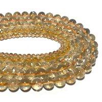 전체 명확한 노란색 황수정은 100 % 자연 느슨한 둥근 돌 구슬 DIY 팔찌 목걸이 6 / 8 / 10mm 15 ''
