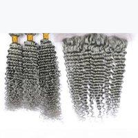 Orelha de cabelo humano de prata de prata indiana virgem profunda para orelha 13x4 laço encerramento frontal com 3bundles cor cinza pura tecidos humanos tece