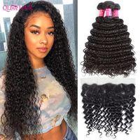 Human Hair Bulks Qlove Deep Wave With Frontal Brazilian Bunldes Closures 3 Bundles Curly Remy