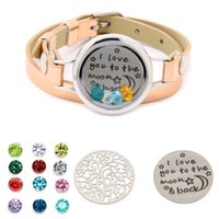 Floating Charm Living Memory Lockets Bracelet Glass Bangle with leather bands strap Gifts for Mom Girls Family