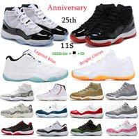 남성 여성 11 농구 신발 11s 낮은 전설 블루 25 주년 기념 화이트 브리드 리버스 독감 게임 트위스트 블랙 로얄 망 스포츠 스 니 커 즈 크기 36-46
