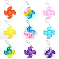 fidget dimple toys keychain Favor children Push decompression toy silicone camo rainbow rodent pioneer Anti Stress Bubbles Board key EWF7174