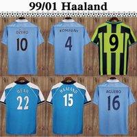 98 99 Retro Mens 3rd Floresan Yeşil Futbol Jersey Kun Aguero Silva Tevez Toure Dzeko De Jong Komany Ev Mavi Futbol Gömlek Üniformaları