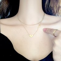 Çelik altın ve kaplama yılan kolye zinciri kadın için agirl aşk gerdanlık kalp iki katmanlar hediye zincirleri