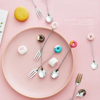 Spoons Creative Household Fruit Donuts Cute Stainless Steel Dessert Spoon Cake Fork Coffee Cpoon Baby Tableware