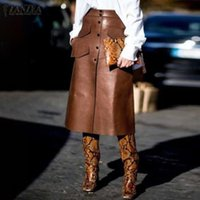 Skirts Fashion ZANZEA Women High Waist PU Leather Solid OL Jupe Autumn Buttons Down Mid-calf Skirt Casual Faldas Saia
