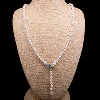 8-9 мм картофель в форме розового жемчуга ожерелье простой моды партия ювелирные изделия личности подарочная длина цепи 75см цепи