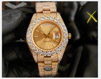 SF fábrica 43mm garra bezel grande diamantes automático homem relógio, aço inoxidável de alta qualidade Cz inteiramente gelado de diamante marcadores de roma dourada shell relógios de homens (dial ouro)