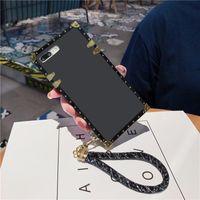 Tasarımcı Moda Telefon Kılıfları Lüks Kare Klasik Yumuşak iphone 12 11 Pro Max XR XS Samsung S9 S10 Artı S10E S20 Not 9 10