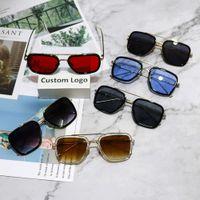 Luxo Quadrado Metal Sunglass Vintage Sul Sun Glass Frame De Ouro Retro Brand Digner Clássico Ironman Shad UV400