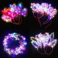 Party Decoration 10pcs LED Flashing Cat Ears Glow Headband Women Girls Light Up Flower Hair Bands Halloween Birthday Rave Supplies