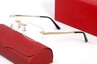 Marcos ópticos Lentes de marco de metal sin rimas Lentes claras Rectángulo Gafas Varios para hombre Unisex Diseñador de alta calidad Gafas de diseño