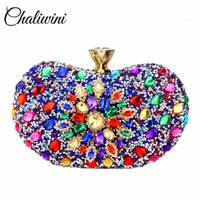 Chaliwini Evening Diamond Two Side Floral Woman Clutch Bag Multi Crystal Sling Package Wedding Purse Matching Wallet Handbags