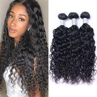 Unprocessed Virgin Human Hair Water Wave Mongolian Wefts 8-26 inch 3 4 Bundles Natural Color Weaving